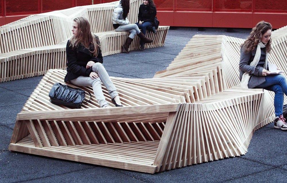 panche in legno arredo urbano